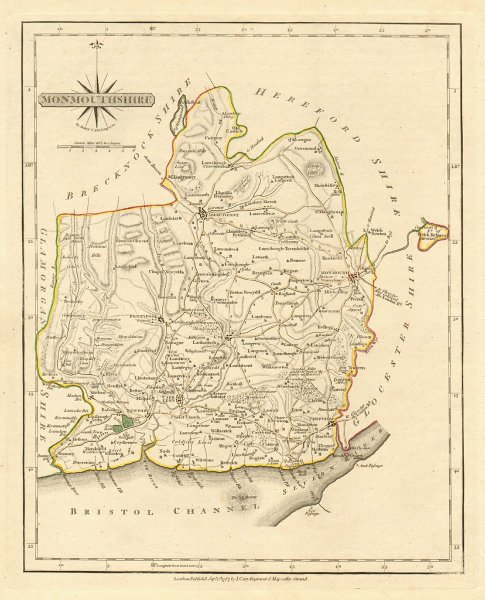Associate Product Antique county map of MONMOUTHSHIRE by JOHN CARY. Original outline colour 1793
