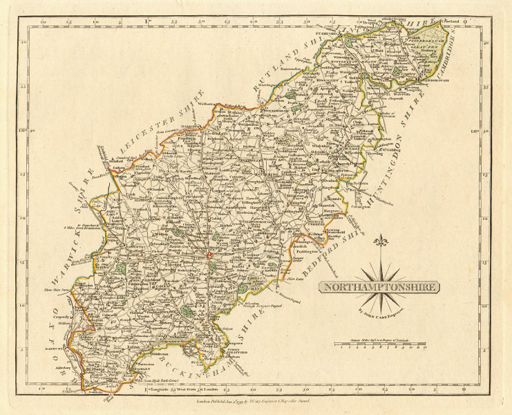 Associate Product Antique county map of NORTHAMPTONSHIRE by JOHN CARY.Original outline colour 1793