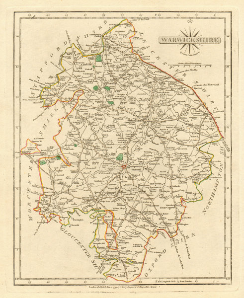 Associate Product Antique county map of WARWICKSHIRE by JOHN CARY. Original outline colour 1793