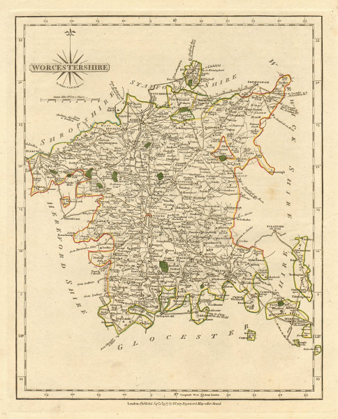 Associate Product Antique county map of WORCESTERSHIRE by JOHN CARY. Original outline colour 1793