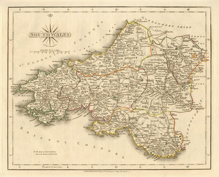 Associate Product Antique map of SOUTH WALES by JOHN CARY. Original outline colour 1793 old
