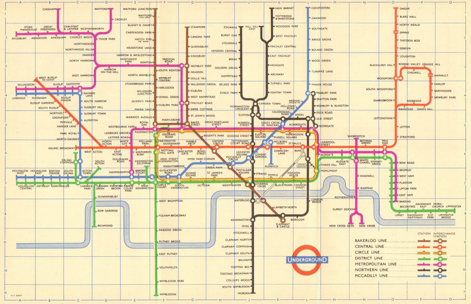 Associate Product LONDON UNDERGROUND tube map plan. South Acton. Aylesbury. Ongar. HARRY BECK 1957
