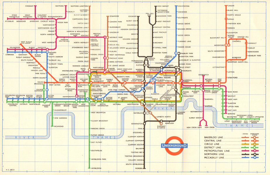 LONDON UNDERGROUND tube map diagram plan. No South Acton. Ongar. HARRY BECK 1959
