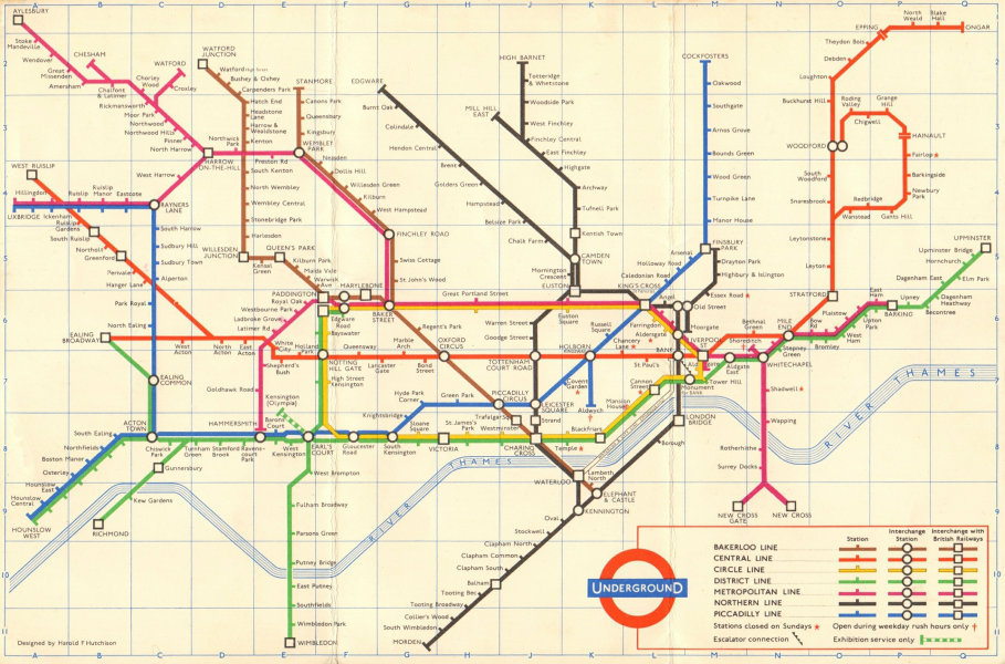 Associate Product LONDON UNDERGROUND tube map plan. Ongar. Essex Rd. HUTCHISON 1961 old