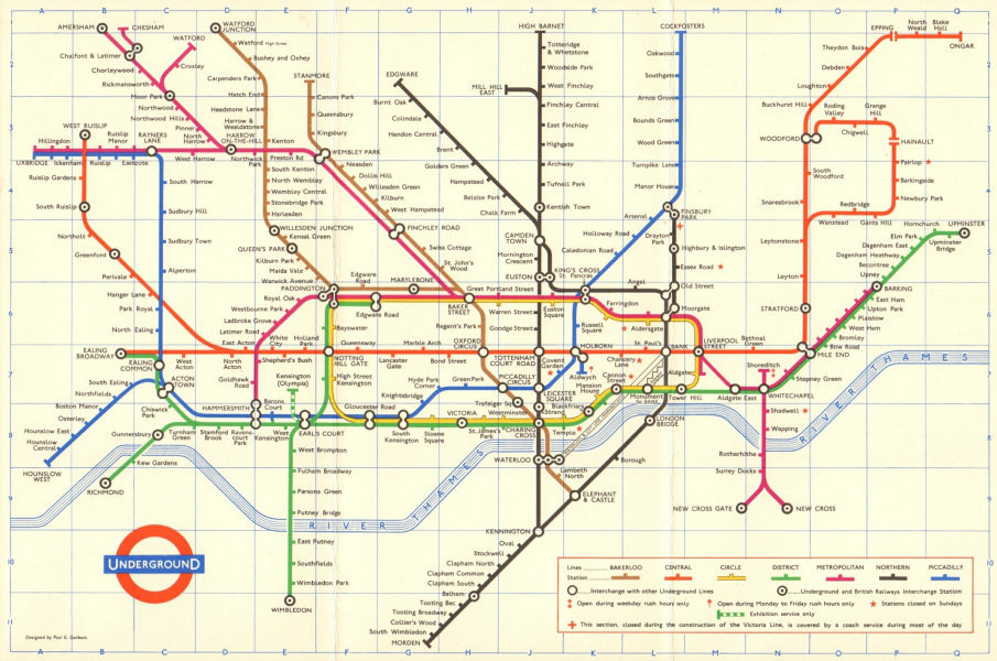 Associate Product LONDON UNDERGROUND tube map plan. Ongar. Essex Rd. GARBUTT 1965 old