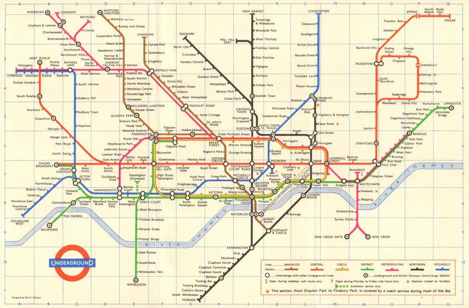 Associate Product LONDON UNDERGROUND tube map plan. Ongar. Essex Rd. GARBUTT 1966 old