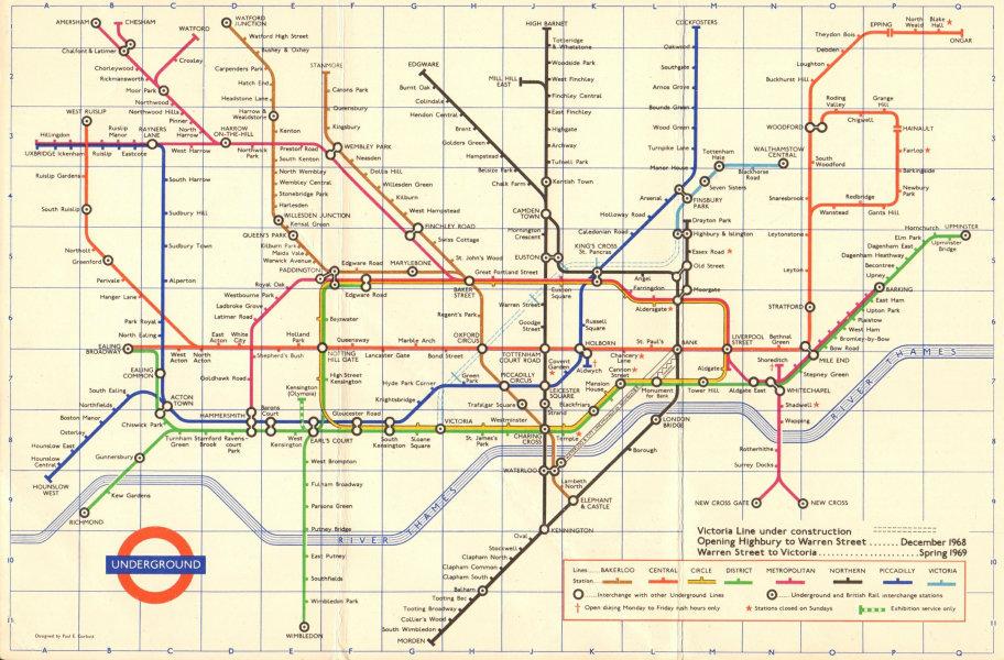 Associate Product LONDON UNDERGROUND tube map plan. Victoria Line u/ construction. GARBUTT #2 1968