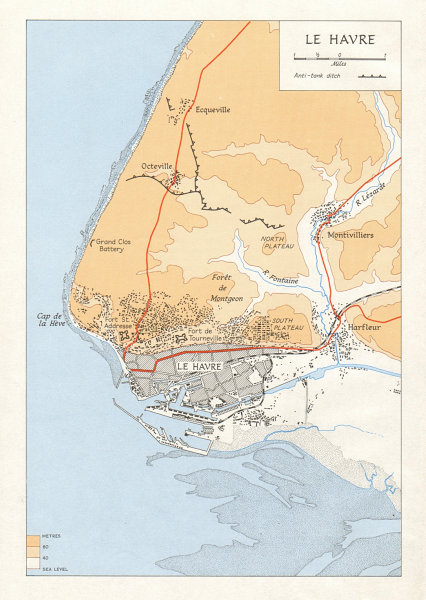 Le Havre town city plan in 1944. Seine-Maritime. Second World War 1968 old map