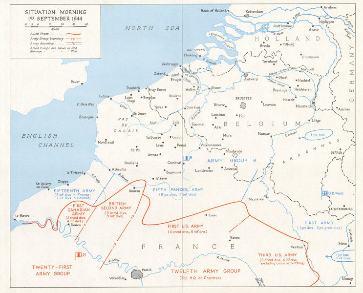 Associate Product World War Two. Advance into Belgium. Situation 1st September 1944 1968 old map