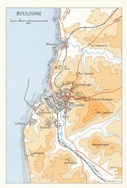 Associate Product Boulogne town city plan in 1944. Pas-de-Calais. Second World War 1968 old map