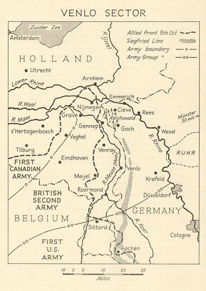 Advance to Nijmegen. Venlo Sector, October 1944 World War 2 Netherlands 1968 map