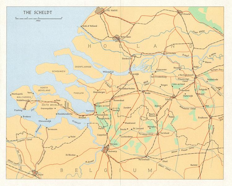 Associate Product World War 2. Advance into Belgium & Netherlands. The Scheldt in 1944 1968 map