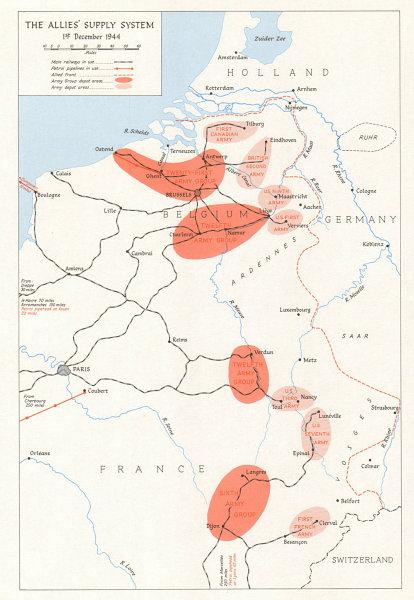 Associate Product Allies' Supply System 1 December 1944. Belgium France. Logistics depots 1968 map