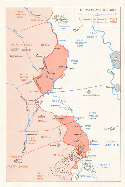 Associate Product Allies advance to the Maas & Roer, November-December 1944. Netherlands 1968 map