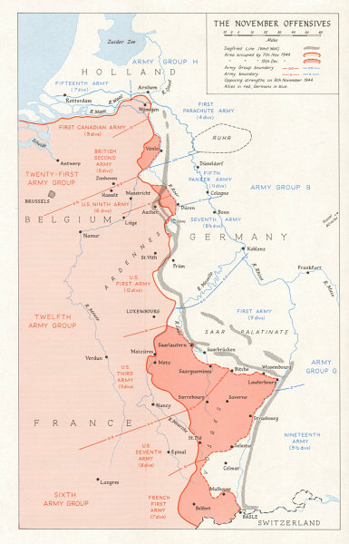 Map Of The Netherlands And Germany.Details About Allies November Offensives November 1944 France Netherlands Germany 1968 Map