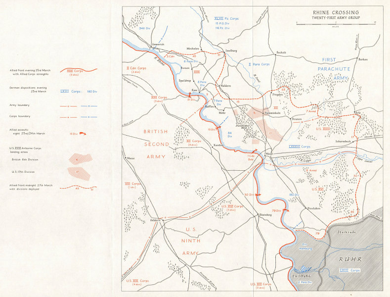 Associate Product Allies advance. Rhine Crossing, 21st Army Group March 1945. Germany WW2 1968 map