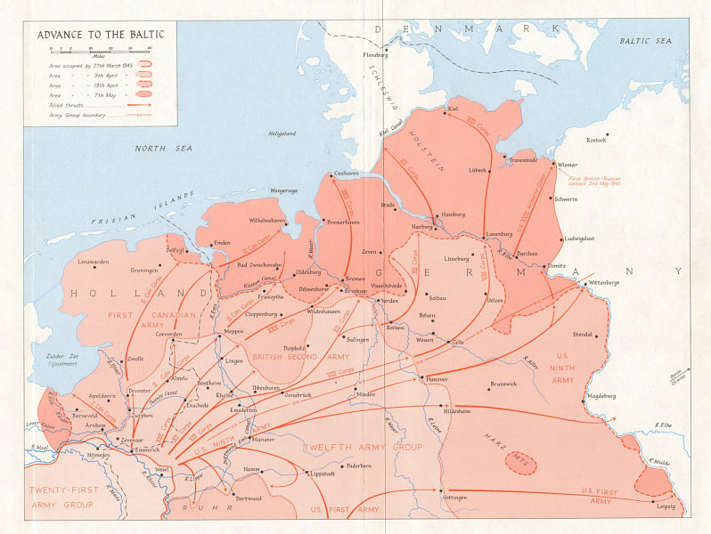 Associate Product Allies advance from the Rhine to the Baltic, March-May 1945 Germany WW2 1968 map