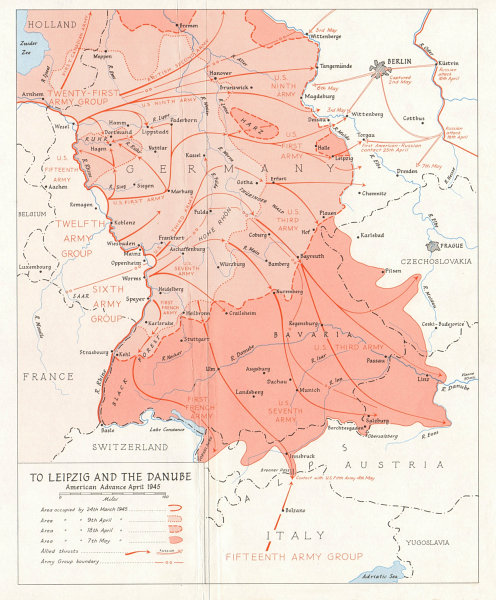 Associate Product Allied invasion of Germany. Leipzig Danube. American Advance April 1945 1968 map