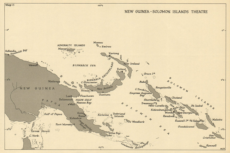 Details about New Guinea & Solomon Islands Theatre. World War 2. Pacific  1954 old map
