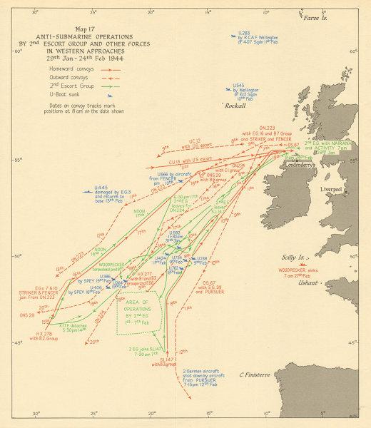 Associate Product Battle of the Atlantic. Anti-submarine operations. Jan-Feb 1944. WW2 1954 map