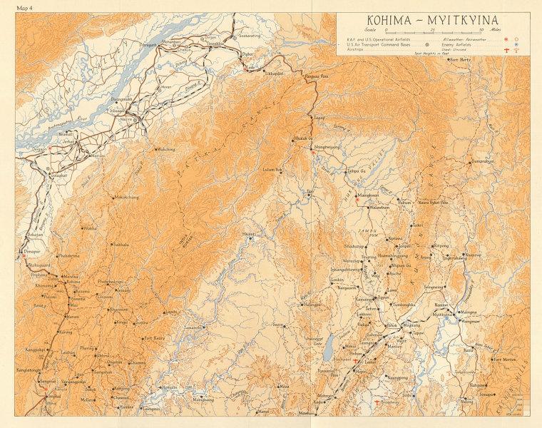 Associate Product Kohima-Myitkyina 1943/44. Burma India. Allied Japanese airfields WW2 1961 map