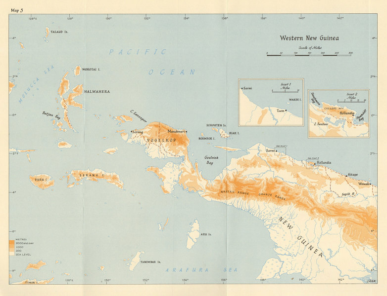 Associate Product Western New Guinea 1943/44. Indonesia. Maluku Islands. World War 2 1961 map