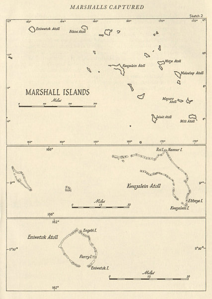 Associate Product The Marshall Islands 1943/44. Pacific Ocean. World War 2 1961 old vintage map