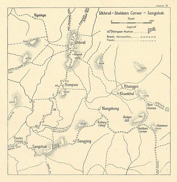 Associate Product Battle of Sangshak 1944. WW2. Ukhrul Sheldon's Corner. Manipur, India 1961 map