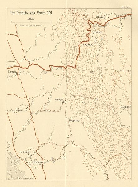 Associate Product Burma Campaign 1944. World War 2. Arakan. The Tunnels & Point 551 1961 old map