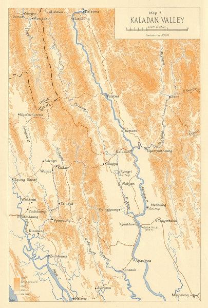 Associate Product Burma Campaign 1944. World War 2. Arakan. Kaladan Valley 1961 old vintage map
