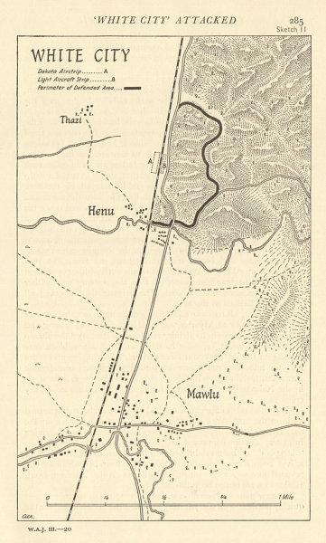 Associate Product Burma Campaign 1944. World War 2. Mawlu Henu 1961 old vintage map plan chart