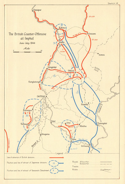 Associate Product Battle of Imphal British counterattack June-July 1944 Manipur India WW2 1961 map