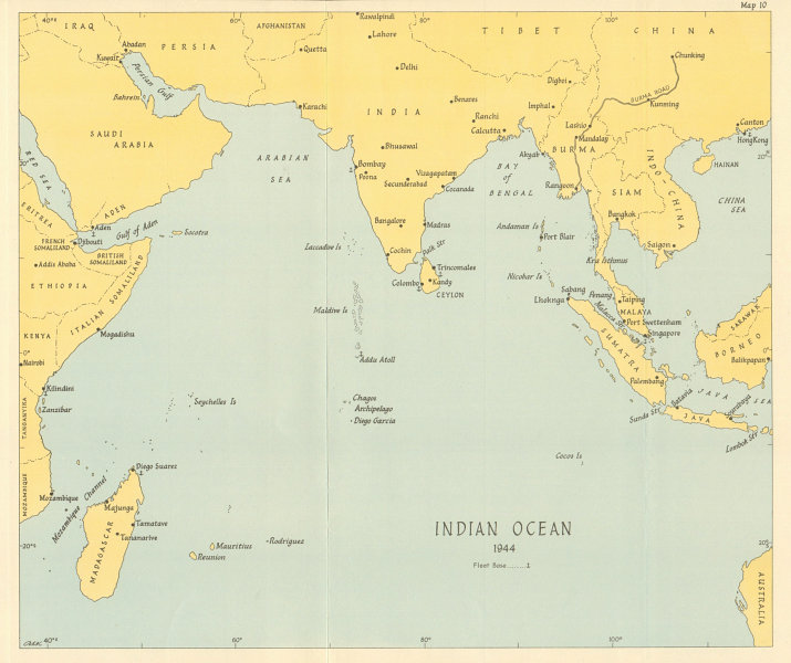 Associate Product Indian Ocean in 1944. World War 2. Naval fleet bases 1961 old vintage map