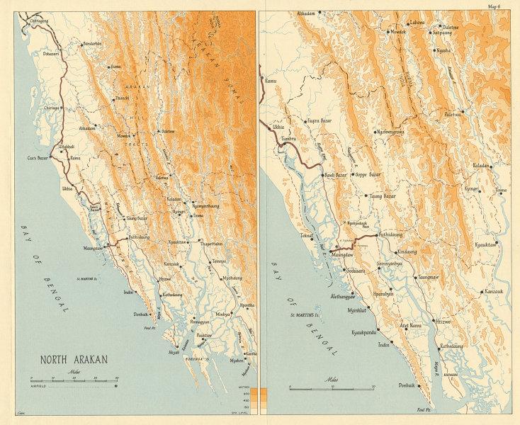 Associate Product North Arakan 1945. Burma Campaign. World War 2. Airfields 1965 old vintage map