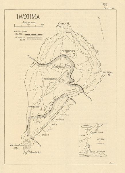Associate Product Battle of Iwo Jima. Feb-March 1945. World War 2. Operation Detachment 1965 map
