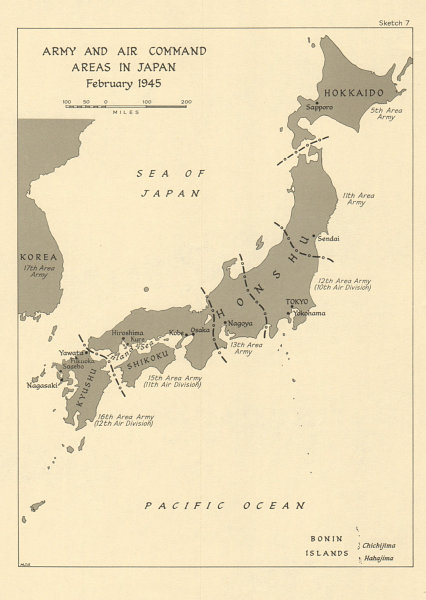 Details about Army and Air Command Areas in Japan, February 1945. World War  2 1965 old map