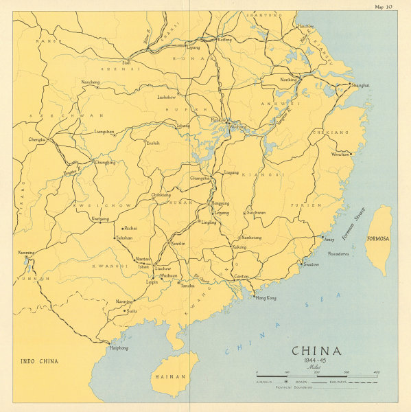 Associate Product China 1944-45. World War 2. Airfields roads railways 1965 old vintage map