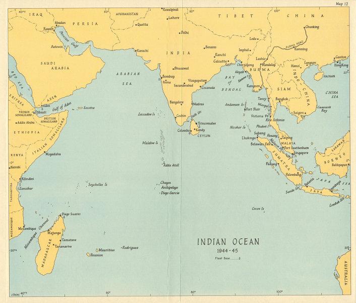 Associate Product Indian Ocean in 1944-45. World War 2. Naval fleet bases 1965 old vintage map