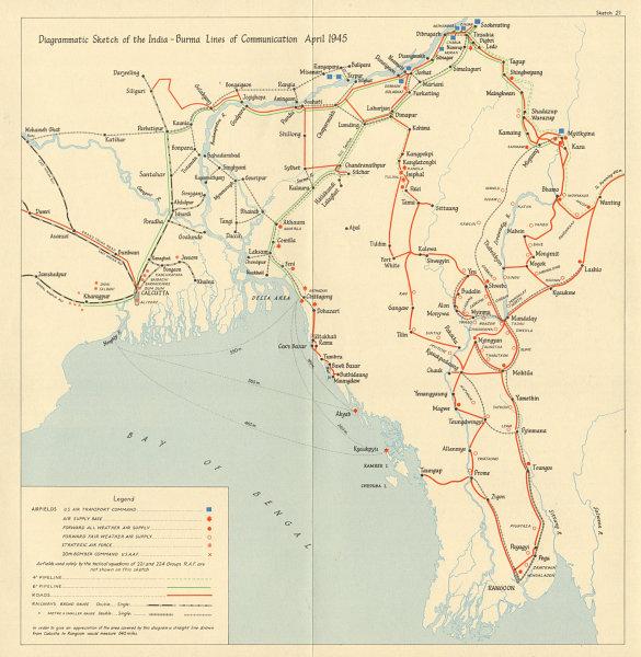 Associate Product Burma Campaign World War 2. April 1945. NE India-Burma supply lines 1965 map