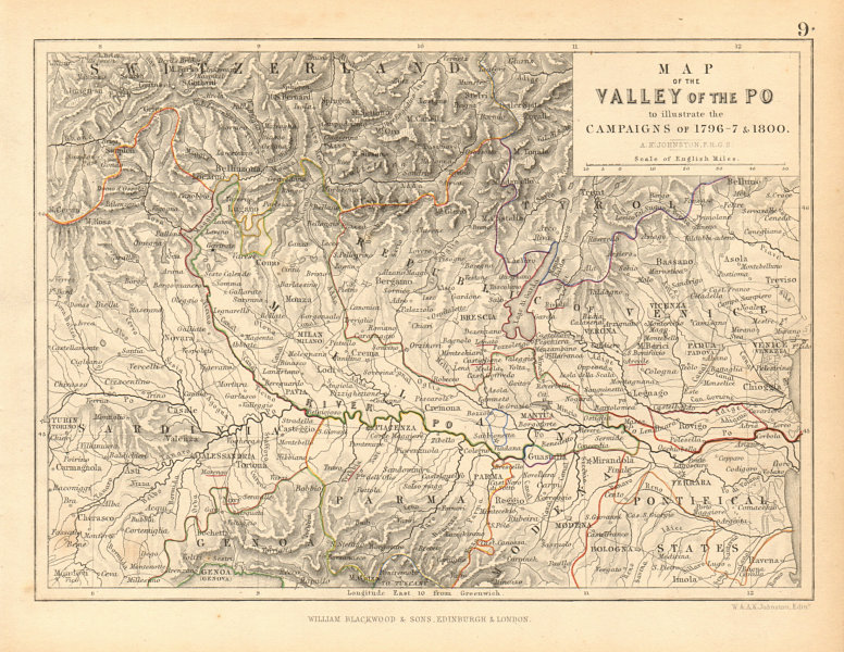 Associate Product Po Valley to illustrate Napoleonic Campaigns of 1796-7 & 1800 1850 old map