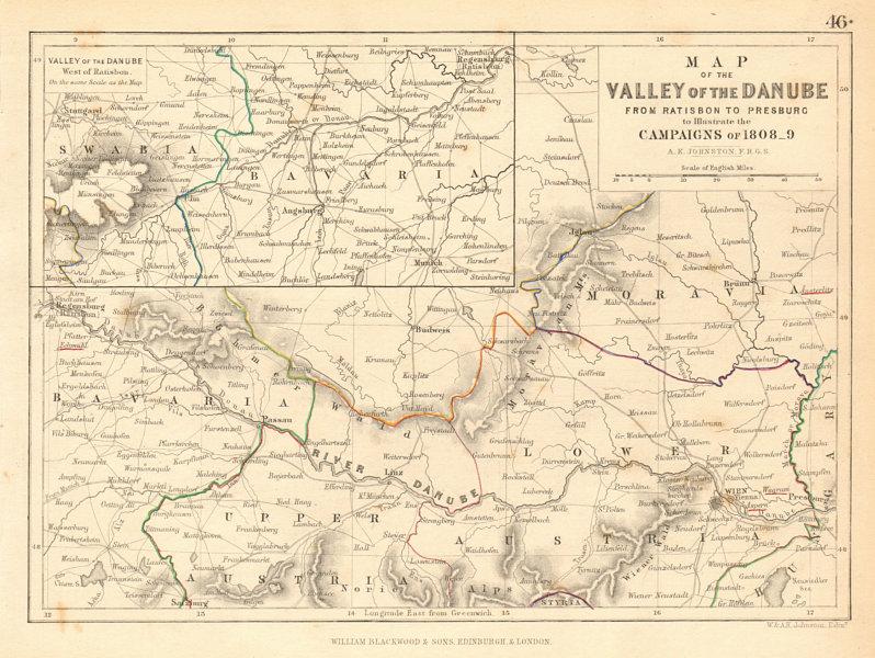 Danube valley. Regensburg-Bratislava. Napoleonic Campaigns of 1808-9 1850 map