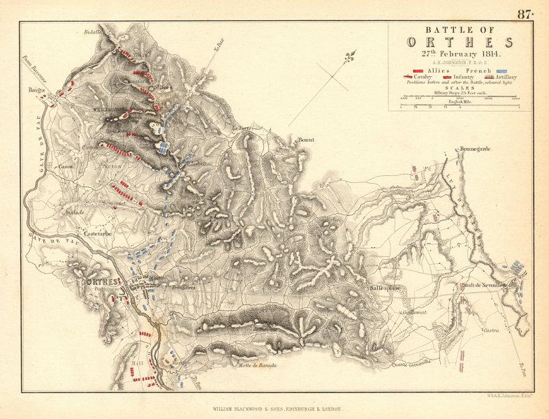 Associate Product Battle of Orthez 27 February 1814. Peninsular War. Pyrénées Atlantiques 1850 map