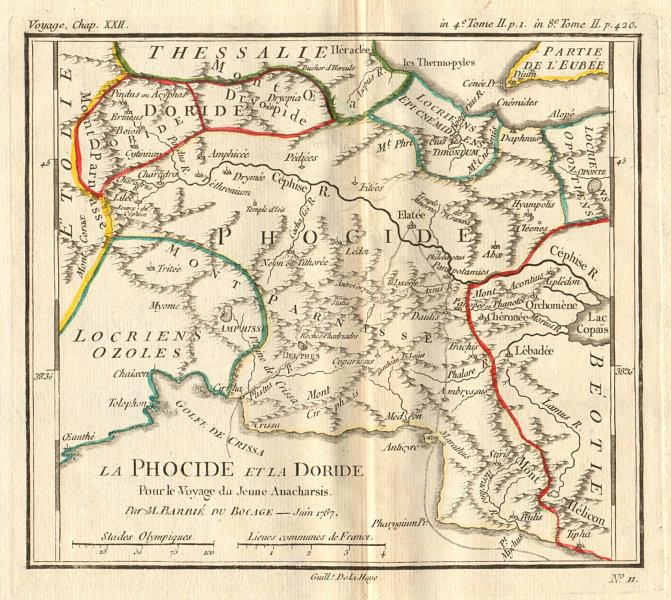 Associate Product ANCIENT GREECE. Phocide (Phocis) & Doride (Doris). Coloured. BOCAGE 1790 map