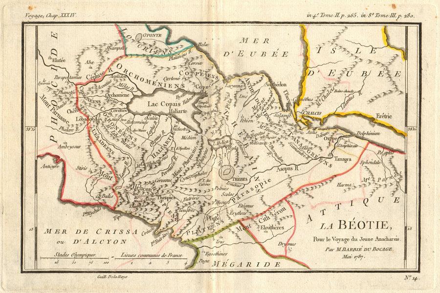 Associate Product ANCIENT GREECE. Bèotie (Boeotia). Coloured. BARBIÉ DU BOCAGE 1790 old map