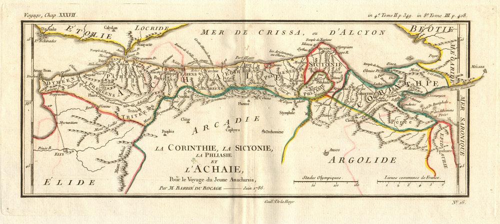 CORINTHIAN GULF Corinthie Sicyonie (Sicyonia) Achaie (Achaea). BOCAGE 1790 map