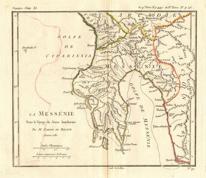 Associate Product ANCIENT GREECE. Méssénie (Messenia). Coloured. BARBIÉ DU BOCAGE 1790 old map