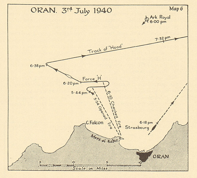 Associate Product Oran 3 July 1940 French fleet Mers-el-Kébir. Operation Catapult. Sketch map 1954