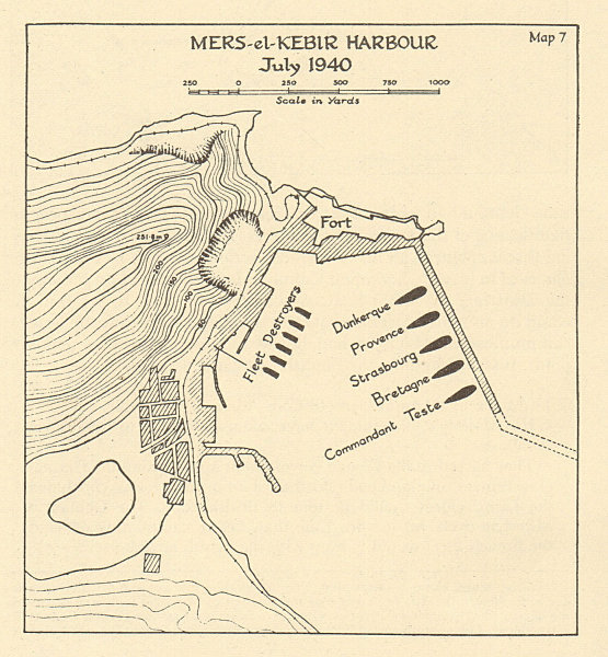 Associate Product Mers-el-Kebir 3 July 1940 French Fleet attack Operation Catapult Sketch map 1954