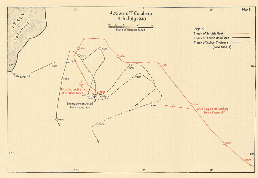 Associate Product Naval Battle of Calabria, 9th July 1940. Sketch map. World War 2 1954 old