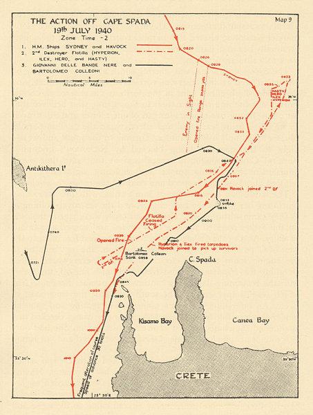 Associate Product Battle of Cape Spada, 19th July 1940. Crete. Sketch map. World War 2 1954